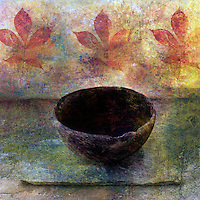 Empty ancient bowl in a still life setting.