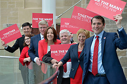 Scottish Labour MPs (left to right) Ged Killen, Danielle Rowley, Martin Whitfield, Scottish Labour leader Kezia Dugdale, Hugh Gaffney, Lesley Laird, Paul Sweeney after a press conference at the Rutherglen Town Hall, Glasgow.