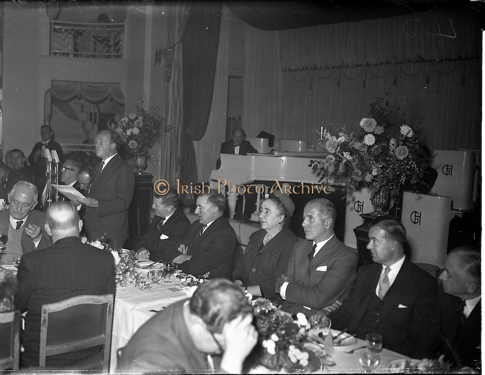 22/10/1959<br /> 10/22/1959<br /> 22 October 1959<br /> Irish Tourist Association Annual General Meeting at the Gresham Hotel, Dublin. Picture shows Mr Erskine Childers, Minister of Transport and Power, (left) speaking at the I.T.A. luncheon at the Gresham Hotel. Others are (from left): Mr Brendan O'Regan, Chairman Bord Failte; Mr S. Bergin, outgoing President I.T.A.; Senator Mrs Dowdall, Lord Mayor of Cork and Mr T.F. O'Driscoll, Director-General, An Bord Failte.