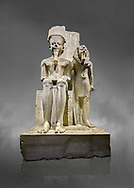 Ancient Egyptian statue of pharaoh Horemheb with god Amun, limestone, New Kingdom, 18th Dynasty, (1319-1292 BC). Egyptian Museum, Turin. Grey Background.<br /> <br /> Horemheb stands beside the taller depiction of the god Amun. The statue is typical of the period following the religious and artistic revolution of King Akhenaten. The muscles are not emphasised and the contours are soft, with rounded hips and juvenile faces, the eyes are almond shaped and the cheeks and lips sensual. Some scholars believe this may have been a statue of Tutenkhamon remodelled by Horemheb. Dorvetti collection. C 768 .<br /> <br /> If you prefer to buy from our ALAMY PHOTO LIBRARY  Collection visit : https://www.alamy.com/portfolio/paul-williams-funkystock/ancient-egyptian-art-artefacts.html  . Type -   Turin   - into the LOWER SEARCH WITHIN GALLERY box. Refine search by adding background colour, subject etc<br /> <br /> Visit our ANCIENT WORLD PHOTO COLLECTIONS for more photos to download or buy as wall art prints https://funkystock.photoshelter.com/gallery-collection/Ancient-World-Art-Antiquities-Historic-Sites-Pictures-Images-of/C00006u26yqSkDOM