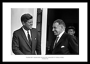 President Kennedy leaving the U.S. Emabssy in Dublin after talks with An Taoiseach Seán Lemass.  The President then left for a visit to his ancestral home in Wexford.<br /> <br /> 27th June 1963