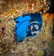 Scuba diving shipwreck in Hawaii, Big Island