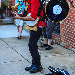 Lancaster, PA - July 5, 2013: A one man band entertains the summer crowd on First Friday, a monthly event in the city.