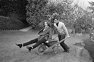 1959. Lake Lugano in Switzerland. Romy Schneider, Austrian actress and Alain Delon, French actor, spend the weekend at Romy's mother's house.<br /> <br /> <br /> 1959. Lac Lugano en Suisse. Romy Schneider actrice autrichienne et Alain Delon, acteur français, passent le week-end à la maison de la mère de Romy .