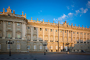 """The Royal Palace of Madrid (Spanish: Palacio Real de Madrid) is the official residence of the Spanish royal family at the city of Madrid, although now only used for state ceremonies. The palace has 135,000 square meters of floor space and contains 3,418 rooms. It is the largest functioning royal palace and the largest by floor area in Europe. King Felipe VI and the royal family do not reside in the palace, choosing instead the significantly more modest Palace of Zarzuela on the outskirts of Madrid. The palace is owned by the Spanish state and administered by the Patrimonio Nacional, a public agency of the Ministry of the Presidency. <br /> <br /> The palace is located on the site of a 9th-century Alcázar (""""Muslim-era fortress""""), near the town of Magerit, constructed as an outpost by Muhammad I of Córdoba and inherited after 1036 by the independent Moorish Taifa of Toledo. After Madrid fell to King Alfonso VI of Castile in 1083, the edifice was only rarely used by the kings of Castile. In 1329, King Alfonso XI of Castile convened the cortes of Madrid for the first time. King Felipe II moved his court to Madrid in 1561. The old Alcázar was built on the location in the 16th century. After it burned 24 December 1734, King Felipe V ordered a new palace built on the same site. Construction spanned the years 1738 to 1755 and followed a Berniniesque design by Filippo Juvarra and Giovanni Battista Sacchetti in cooperation with Ventura Rodríguez, Francesco Sabatini, and Martín Sarmiento. King Carlos III first occupied the new palace in 1764.<br /> <br /> The interior of the palace is notable for its wealth of art and the use of many types of fine materials in the construction and the decoration of its rooms. It includes paintings by artists such as Caravaggio, Juan de Flandes, Francisco de Goya, and Velázquez, and frescoes by Giovanni Battista Tiepolo, Corrado Giaquinto, and Anton Raphael Mengs. Other collections of great historical and artistic importance preserved in the bu"""