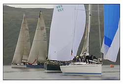 The first mornings racing at the Bell Lawrie Yachting Series in Tarbert Loch Fyne .Damp and light conditions made the conditions challenging for the competitors...Swan 45 Fleet with .GBR9050 Piper at the Gates , Charles Swingland RSYC.GBR945R Fever, Gordon / Diderichs , RORC.GBR92R Murka 2 , Mikhail Mouratov RSYC.GBR6R Crackerjack , Keith Miller CCC / RYS .