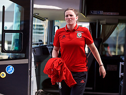 YSTRAD MYNACH, WALES - Wednesday, April 5, 2017: Wales' Helen Ward arrives ahead of the Women's International Friendly match against Northern Ireland at Ystrad Mynach. (Pic by Laura Malkin/Propaganda)