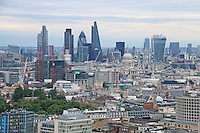 Heron Tower; Tower 42; The Gherkin 30 St Mary Axe; Leadenhall Building; 20 Fenchurch Street; St Paul's Cathedral, Panorama aerial view of London UK, 28 July 2014, Photo by Richard Goldschmidt