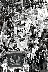 Renewed campaign against pit closures - large demo in London; February 1993; UK