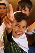Balkh province Afghanistan. Children's centre. Girls studying.