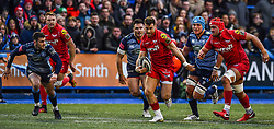 Scarlets' Gareth Davies makes a break - Mandatory by-line: Craig Thomas/Replay images - 31/12/2017 - RUGBY - Cardiff Arms Park - Cardiff , Wales - Blues v Scarlets - Guinness Pro 14