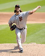CHICAGO - SEPTEMBER 10:  Madison Bumgarner #40 of the San Francisco Giants pitches against the Chicago White Sox on September 10, 2017 at Guaranteed Rate Field in Chicago, Illinois.  The White Sox defeated the Giants 8-1.  (Photo by Ron Vesely) Subject:   Madison Bumgarner