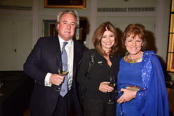 Left to right, Mark Doyle, Sonia Saville and The Duchess of Rutland at a party to celebrate the publication of Resolution by The Duke of Rutland and Emma Ellis held at Trinity House, Tower Hill, London England. 10 April 2017.
