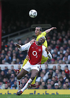 Photo: Jo Caird, Digitalsport<br /> NORWAY ONLY<br /> <br /> Arsenal v Charlton Athletic<br /> Barclaycard Premiership 2004<br /> 28/02/2004.<br /> <br /> Di Canio and Viera