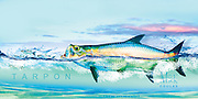 The Pursuit Series™ by Mick Coulas captures several species of game fish pursuing bait, available for license to be reproduced on clothing, prints and gifts that every fisherman will enjoy. This design features Tarpon pursuing Mullet. Copyright watermark does not show up on Prints © Registered Call for Information.