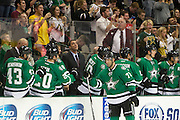 DALLAS, TX - SEPTEMBER 26:  Erik Cole #72 of the Dallas Stars celebrates with teammates after scoring a goal against the Colorado Avalanche in an NHL preseason game on September 26, 2013 at the American Airlines Center in Dallas, Texas.  (Photo by Cooper Neill/Getty Images) *** Local Caption *** Erik Cole