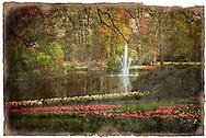 Keukenhof Gardens, Lisse, Netherlands - Forgotten Postcard digital art European Travel collage