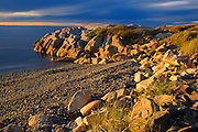Sunset on rocky shoreline of Chedabucto Bay (Atlantic Island)<br /> Fox Island<br /> Nova Scotia<br /> Canada