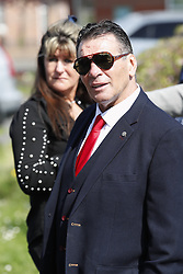 © Licensed to London News Pictures. 21/04/2018. Cobham, UK. Paddy Doherty attends the funeral of his mother traveller 'Queenie, Elizabeth Doherty at Sacred Heart Church in Cobham, Surrey. Elizabeth Doherty, whose son Paddy Doherty is known for appearing on My Big Fat Gypsy Wedding and winning Celebrity Big Brother 8, died of a heart attack earlier this month. Paddy Doherty claimed his mother has died of a 'broken heart' following the death of her husband almost a year ago. Photo credit: Peter Macdiarmid/LNP