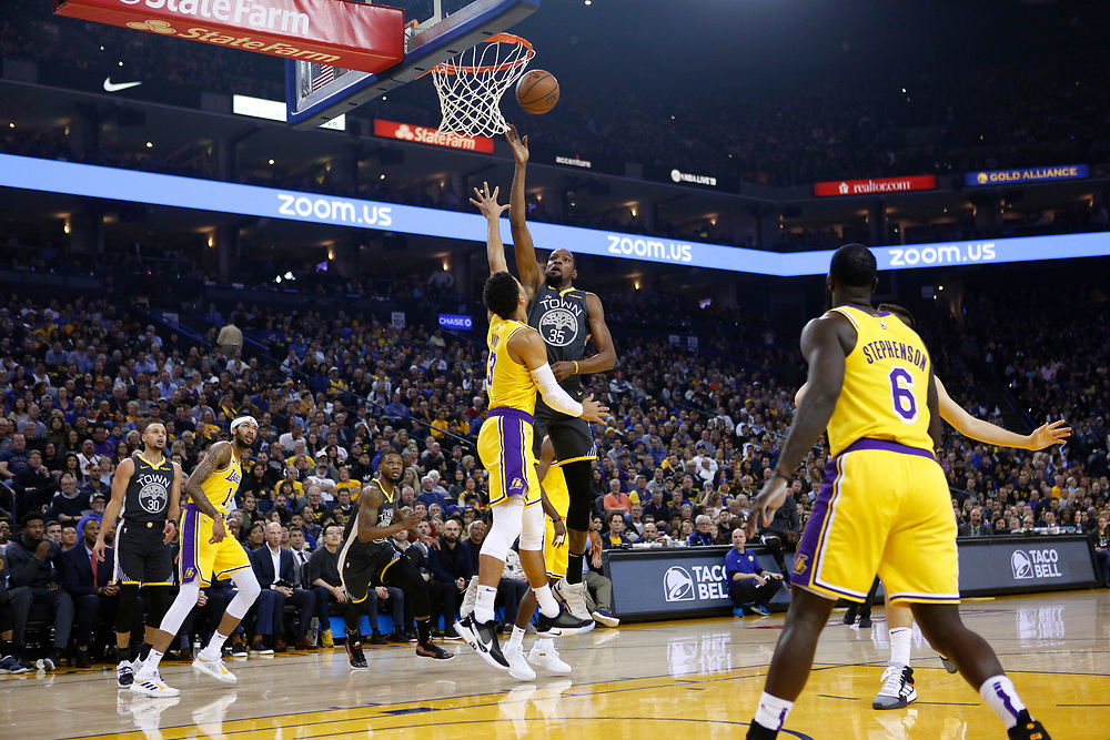 Golden State Warriors forward Kevin Durant (35) shoots against Los Angeles Lakers guard Josh Hart (3) in the first half of an NBA game at Oracle Arena on Saturday, Feb. 2, 2019, in Oakland, Calif. The Warriors won 115-101.