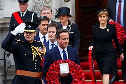 © Licensed to London News Pictures. 08/05/2015. LONDON, UK. Prime Minister David Cameron, Nick Clegg, Ed Miliband and Nicola Sturgeon attending a service of remembrance at the Cenotaph in London marking the 70th anniversary of VE Day on Friday, 8 May 2015. Photo credit : Tolga Akmen/LNP