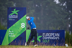 Iceland's Axel Boasson tees off at the 8th hole during his semi final match with Spain this morning during day eleven of the 2018 European Championships at Gleneagles PGA Centenary Course. PRESS ASSOCIATION Photo. Picture date: Sunday August 12, 2018. See PA story GOLF European. Photo credit should read: Kenny Smith/PA Wire. RESTRICTIONS: Editorial use only, no commercial use without prior permission
