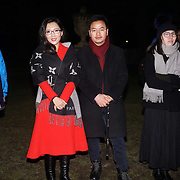 London,England,UK: 18th January 2016: Chinese delegates attends the 'Magical Lantern Festival' VIP Night with an all-new show transforming historic Chiswick House Gardens into a fairytale world of light sculptures, Chinese arts, Virtual Reality, games & food with a funfair and 600 square metres ice rink at Chiswick House Gardens  from January 19th - February 26th. by See Li