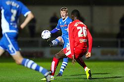 Andy Cannon of Rochdale clears the ball  - Mandatory byline: Matt McNulty/JMP - 07966 386802 - 06/10/2015 - FOOTBALL - Spotland Stadium - Rochdale, England - Rochdale v Chesterfield - Johnstones Paint Trophy