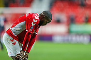Charlton Athletic midfielder Mark Marshall (7) is upset after the The FA Cup 2nd round match between Charlton Athletic and Doncaster Rovers at The Valley, London, England on 1 December 2018. Photo by Toyin Oshodi