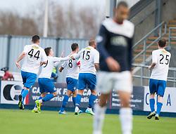 Morton's Doug Imrie cele scoring their goal.<br /> halt time ; Falkirk 0 v 1 Morton, Scottish Championship game today at The Falkirk Stadium.<br /> © Michael Schofield.