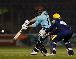 Surrey's Rory Burns hits a single of the bowling of Glamorgan's Colin Ingram<br /> <br /> Photographer Simon King/Replay Images<br /> <br /> Vitality Blast T20 - Round 14 - Glamorgan v Surrey - Friday 17th August 2018 - Sophia Gardens - Cardiff<br /> <br /> World Copyright © Replay Images . All rights reserved. info@replayimages.co.uk - http://replayimages.co.uk