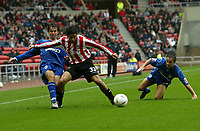 Fotball<br /> England<br /> 2004/2005<br /> 16.10.2004<br /> Foto: SBI/Digitalsport<br /> NORWAY ONLY<br /> <br /> Sunderland v Millwall<br /> Coca-Cola Championship<br /> <br /> Sunderland's Julio Arca (C) holds off Millwall's Jo Tessem (L).