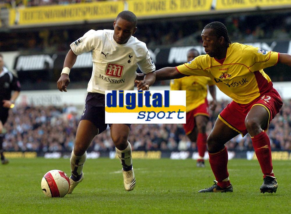 Photo: Olly Greenwood.<br />Tottenham Hotspur v Watford. The Barclays Premiership. 17/03/2007. Tottenham's Jermain Defoe and Watford's Lloyd Doyley