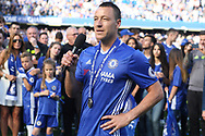 Chelsea Captain John Terry addresses the crowd on his final appearance for the club. Premier league match, Chelsea v Sunderland at Stamford Bridge in London on Sunday 21st May 2017.<br /> pic by Steffan Bowen,  Andrew Orchard sports photography.