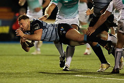 Cardiff Blues' Owen Lane dives for the line<br /> <br /> Photographer Simon King/Replay Images<br /> <br /> Guinness Pro14 Round 9 - Cardiff Blues v Connacht Rugby - Friday 24th November 2017 - Cardiff Arms Park - Cardiff<br /> <br /> World Copyright © 2017 Replay Images. All rights reserved. info@replayimages.co.uk - www.replayimages.co.uk