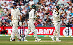 Australia's Steve Smith calls for a review after England's Alastair Cook was struck on the pads by Nathan Lyon during day four of the Ashes Test match at the Adelaide Oval, Adelaide.