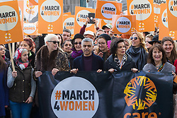 "City Hall, London, March 5th 2017. Stars join March4Women through London. Mayor of London Sadiq Khan and suffragette descendents prepare to march and ""sing for a fairer world ahead of International Women's Day"". Attended by Annie Lennox, Emeli Sande, Helen Pankhurst, Bianca Jagger and with musical performances from Emeli Sande, Melanie C and more. PICTURED: Sadiq Khan, Annie Lennox, Bianca Jagger and other leading figures lead the march across Tower Bridge."