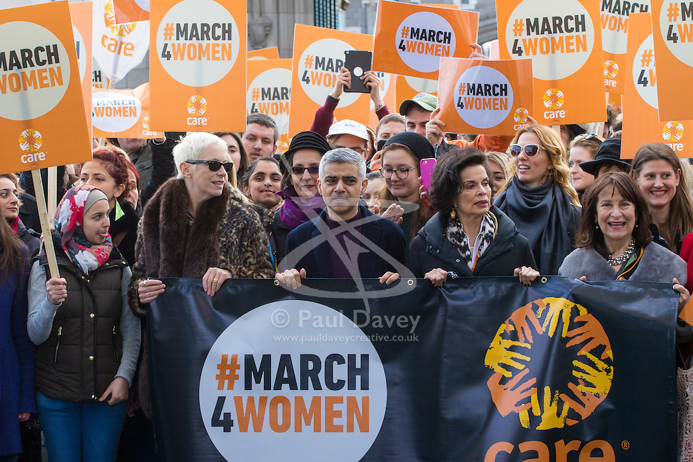 """City Hall, London, March 5th 2017. Stars join March4Women through London. Mayor of London Sadiq Khan and suffragette descendents prepare to march and """"sing for a fairer world ahead of International Women's Day"""". Attended by Annie Lennox, Emeli Sande, Helen Pankhurst, Bianca Jagger and with musical performances from Emeli Sande, Melanie C and more. PICTURED: Sadiq Khan, Annie Lennox, Bianca Jagger and other leading figures lead the march across Tower Bridge."""
