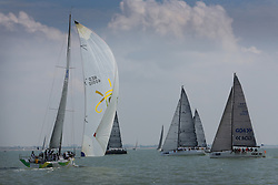 Brewin Dolphin Scottish Series 2014, the start of an International IRC competition racing on the Solent off Cowes and hosted by the RORC.<br /> <br /> NED 40010, Cutting Edge, a Ker 40 in GBR RED<br /> Credit: Marc Turner