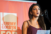 Shadia Edwards-Dashti, of Stop The War coalition, gives a speach of support from the youth angle - Jeremy Corbyn holds a campaign meeting as part of his Labour Party leadership challenge - with support of Ken Livingstone at the Camden Town Hall, London, UK 03 Aug 2015
