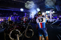 Riders in the centre of the track during day two of the Six Day Series Manchester at the HSBC UK National Cycling Centre.
