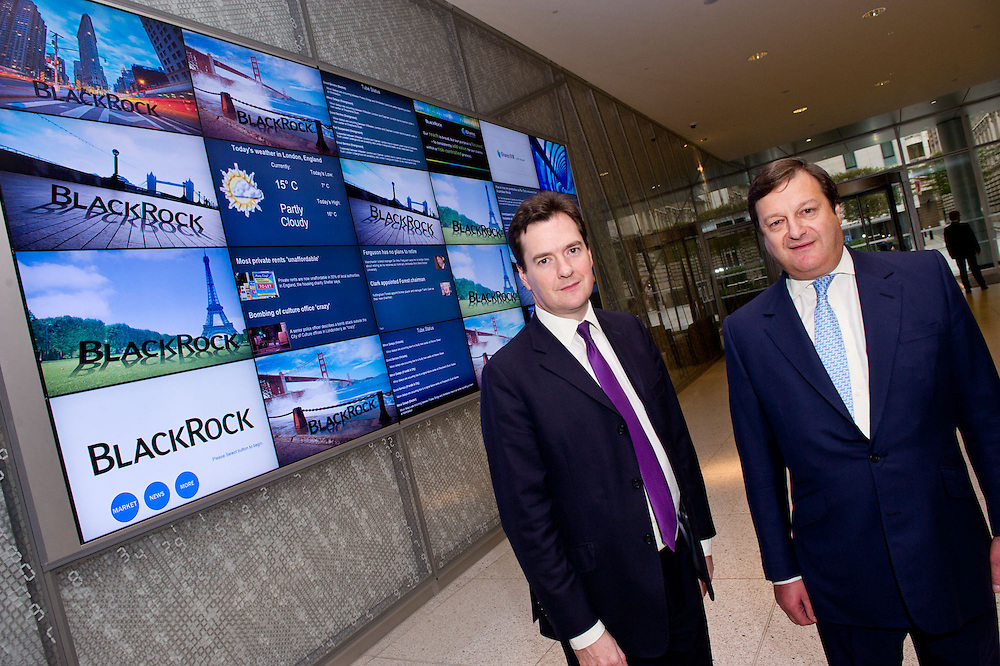 Chancellor of the Exchequer, Rt Hon George Osborne MP opens BlackRock's new European HQ at Drapers Gardens in the City of London.  Here he is accompanied by James Charrington (right), Chairman of BlackRock's EMEA business.  BlackRock is the largest money manager in the world - Guy Bell Photography, GBPhotos.com