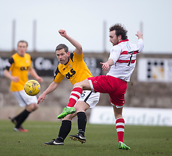 East Fife's player manager Gary Naysmith and Stirling Albion's Mark Lamont. <br /> Half time : East Fife 0 v 0 Stirling Albion, Scottish Football League Division Two game played at Bayview Stadium, 20/2/2106.