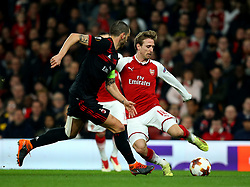 Nacho Monreal of Arsenal takes on Leonardo Bonucci of AC Milan - Mandatory by-line: Robbie Stephenson/JMP - 15/03/2018 - FOOTBALL - Emirates Stadium - London, England - Arsenal v AC Milan - UEFA Europa League Round of 16, Second leg