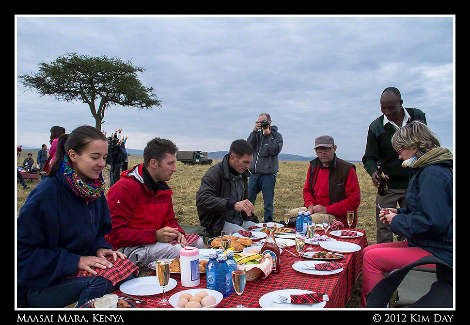 Post-Hot Air Balloon Champagne Breakfast.Maasai Mara, Kenya.September 2012