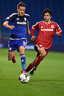 Craig Noone of Cardiff city (l) goes past Diego Fabbrini of Middlesbrough . Skybet football league championship match, Cardiff city v Middlesbrough at the Cardiff city Stadium in Cardiff, South Wales  on Tuesday 20th October 2015.<br /> pic by  Andrew Orchard, Andrew Orchard sports photography.