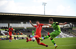 Josh Coulson of Leyton Orient blocks a shot from Nicky Cadden of Forest Green Rovers- Mandatory by-line: Nizaam Jones/JMP - 05/09/2020 - FOOTBALL - New Lawn Stadium - Nailsworth, England - Forest Green Rovers v Leyton Orient - Carabao Cup