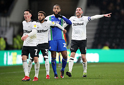 Derby County's Richard Keogh (right) shouts instructions during the Sky Bet Championship match at Pride Park, Derby.