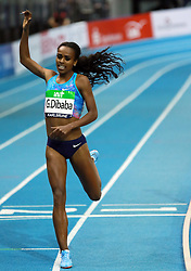 KARLSRUHE, Feb. 4, 2018  Genzebe Dibaba of Ethiopia celebrates during Women's 1500m final of the 2018 IAAF World Indoor Tour in Karlsruhe, Germany, on Feb. 3, 2018. Genzebe Dibaba claimed the title with 3:57.45. (Credit Image: © Luo Huanhuan/Xinhua via ZUMA Wire)