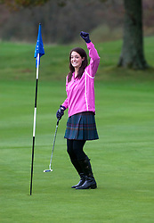Miss Scotland Jennifer Reochs putting with golf pro Fraser Dunlop..The Miss World participants play golf at the world famous Gleneagles Hotel, host of The Ryder Cup 2014..MISS WORLD 2011 VISITS SCOTLAND..Pic © Michael Schofield.